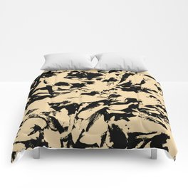 Beige Yellow Black Abstract Military Camouflage Comforters