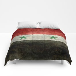 Syrian national flag, vintage Comforters