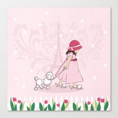 Paris Girl & Poodle Eiffle Tower Canvas Print