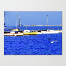 Boats on blue water with flying seagull Canvas Print