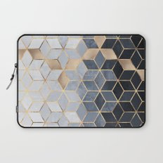 Soft Blue Gradient Cubes Laptop Sleeve