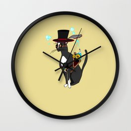 A Cool Steampunk Cat with Feather in his Hat Wall Clock