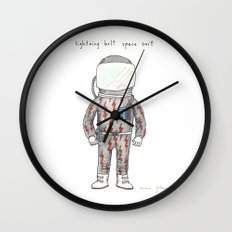 lightning bolt space suit Wall Clock