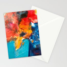 Bright Cobalt and Orange Floral  Stationery Cards