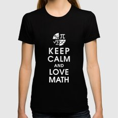 Keep Calm and Love Math LARGE Black Womens Fitted Tee