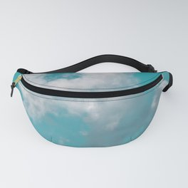 Floating cotton candy with blue green Fanny Pack