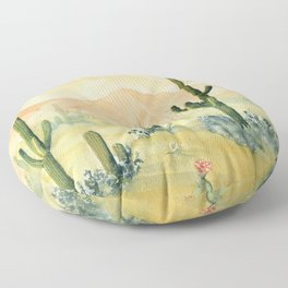 Desert Sunset Landscape Floor Pillow