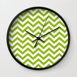 Simple Chevron Pattern - Apple Green & White - Mix & Match with Simplicity of Life Wall Clock