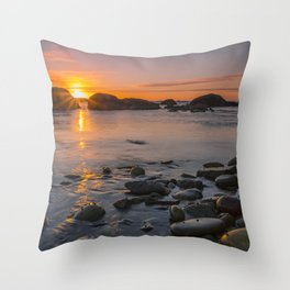 On the beach at nightfall Throw Pillow