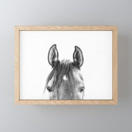 peekaboo horse, bw horse print, horse photo, equestrian print, equestrian photo, equestrian decor Framed Mini Art Print