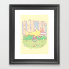 The Easter Bunny Shark Framed Art Print