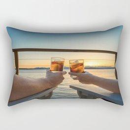 Sailing sunset couple toasting Rectangular Pillow