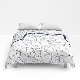 London White on Navy Street Map Comforters