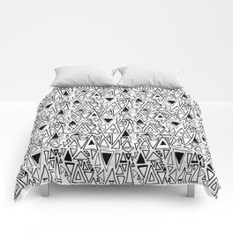 Chotic Angles in Black & White by Deirdre J Designs Comforters