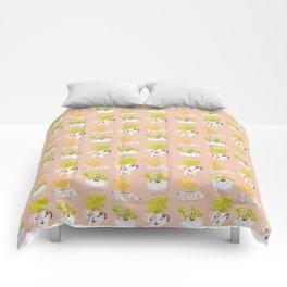 Kawaii dog cat hedgehog succulents Comforters