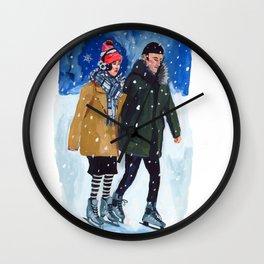 Winter Skaters Wall Clock