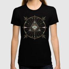 Evil Eye Mandala – Black Black MEDIUM Womens Fitted Tee