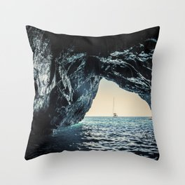 Seacoast of Palinuro with its wonderful crystal clear water sea and caves Throw Pillow