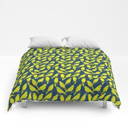 Canaries in Blue and Yellow Comforters