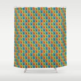 Mid Century Modern Retro Atomic Cats on Orange Green and Blue Shower Curtain