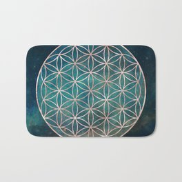 Mandala Flower of Life Rose Gold Space Stars Bath Mat