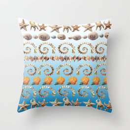 Caribbean Shells on Ibiza Blue Throw Pillow