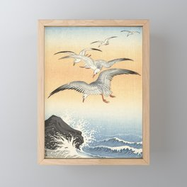 Japanese Seagull Woodblock Print by Ohara Koson Framed Mini Art Print