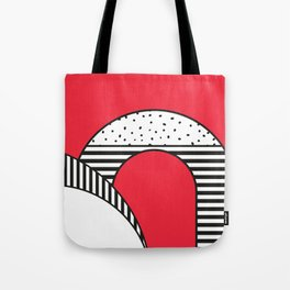 Minimal Design of a city in Red and Black and White Tote Bag