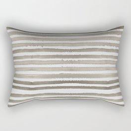 Simply Shibori Stripes Earth Brown on Lunar Gray Rectangular Pillow