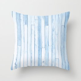Blue Reclaimed Wood Pattern Throw Pillow