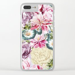 Vintage & Shabby chic -  Retro Spring Flower Pattern Clear iPhone Case
