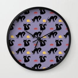Black Cat Pattern Wall Clock