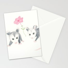 Baby Opossums and Pink Petunias Stationery Cards