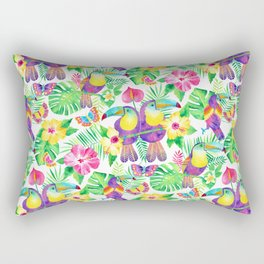 Tropical Toucans in Watercolor White Rectangular Pillow