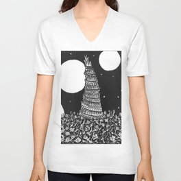 Ancient Dark Tower on the Rose Field Unisex V-Neck