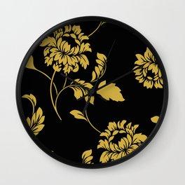 Victorian Floral (Black & Gold) Wall Clock