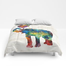 Colorful Elephant Art - Elovephant - By Sharon Cummings Comforters