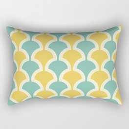 Classic Fan or Scallop Pattern 432 Turquoise and Yellow Rectangular Pillow