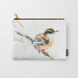 Bird Songbird, Carolina Wren brown, Sahara Shades, soft neutral colored nursery design Carry-All Pouch