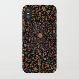 Medieval Flowers on Black iPhone Case
