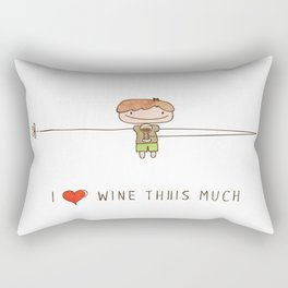 I love wine boy Rectangular Pillow