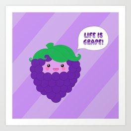 Life is Grape! (striped) Art Print