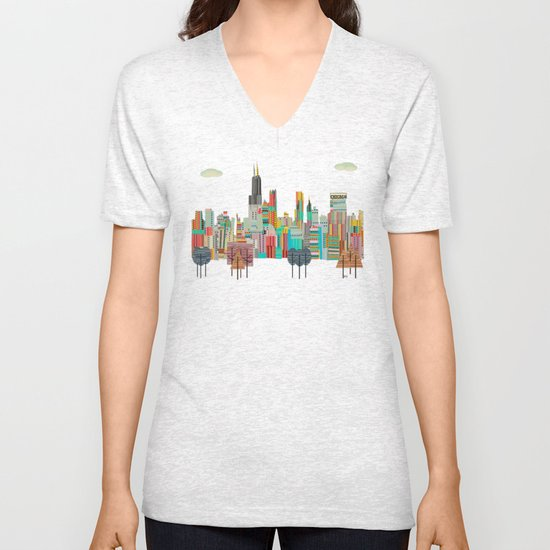 Chicago city (summer days) Unisex V-Neck