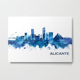 Alicante Spain Skyline Blue Metal Print