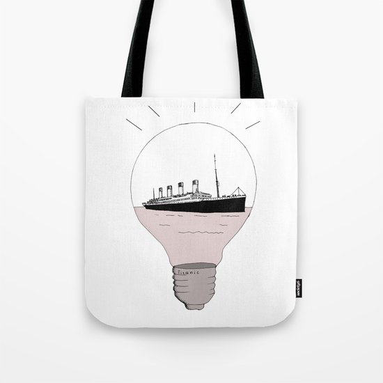 Ship in a light bulb Tote Bag