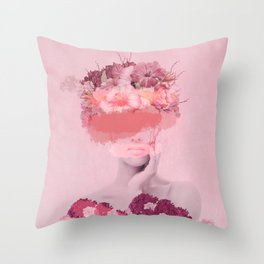 Woman in flowers Throw Pillow