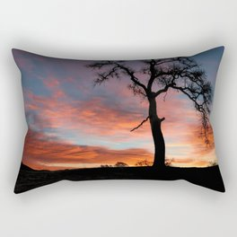 Beautiful Oak Tree In Colorful Southwestern Red, Yellow and Blue Sunrise Rectangular Pillow