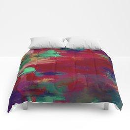 Crimson Overflow - Abstract, red, crimson, green, purple oil painting Comforters