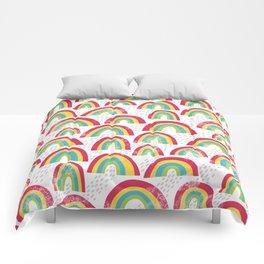 Rainbow showers - white Comforters