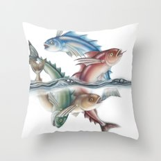INKYFISH - Jumping Fish Throw Pillow
